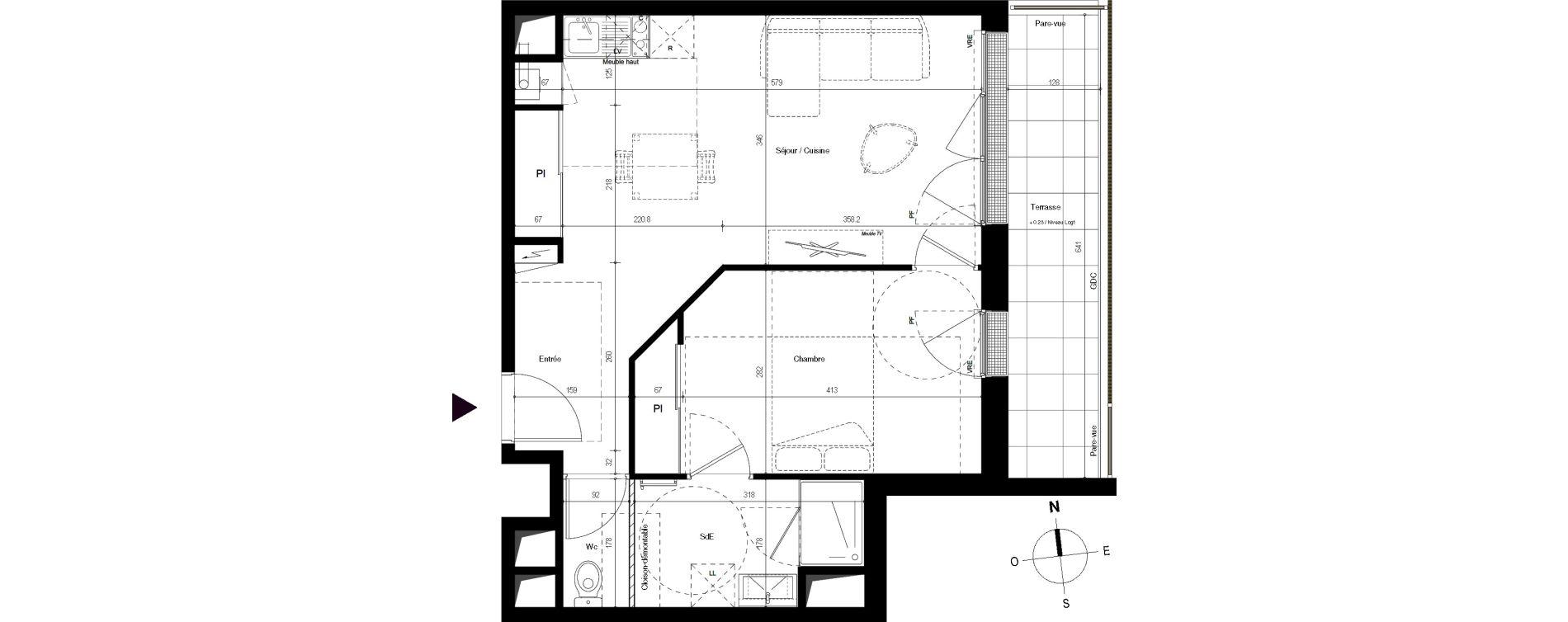 Appartement T2 de 46,39 m2 à Villenave-D'Ornon Centre