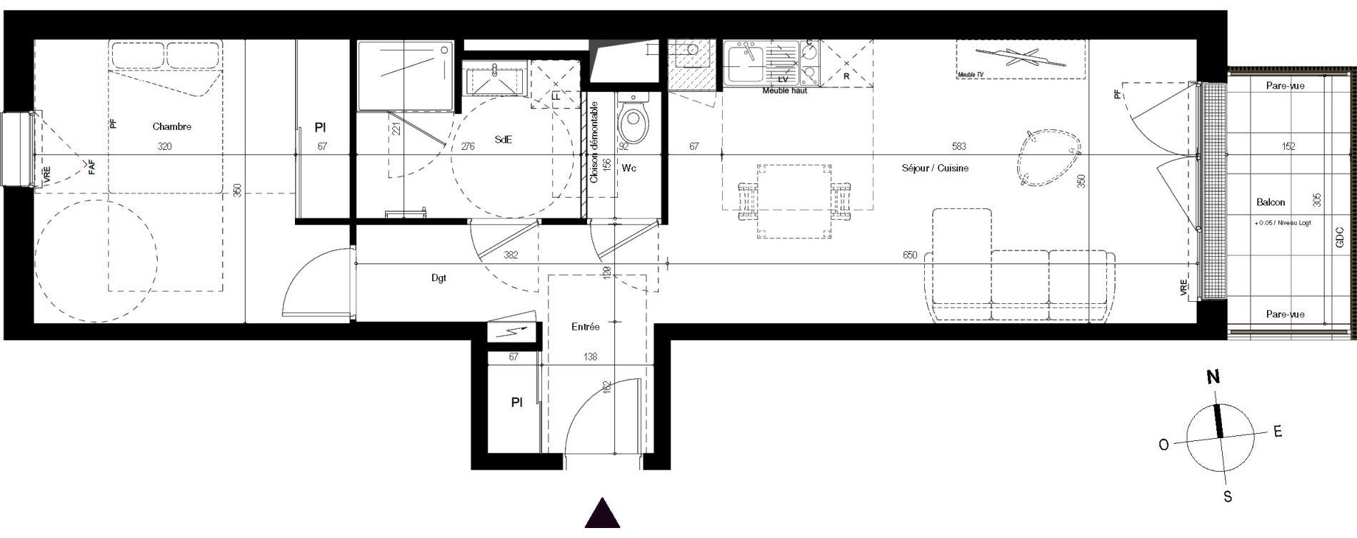 Appartement T2 de 51,07 m2 à Villenave-D'Ornon Centre