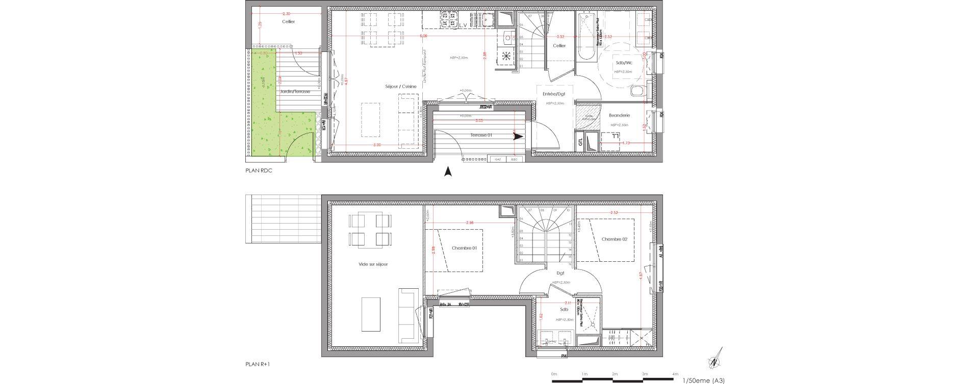 Maison T3 de 63,02 m2 à Villenave-D'Ornon Centre