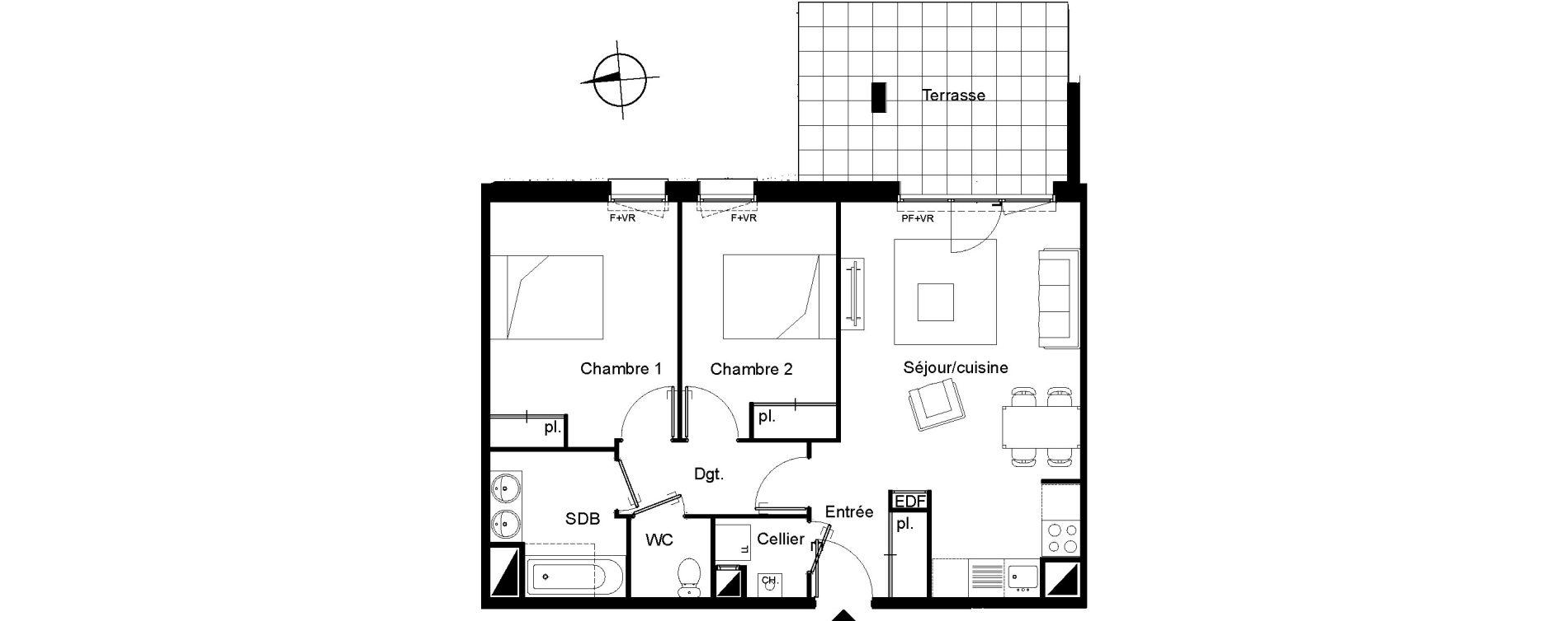 Appartement T3 de 62,46 m2 à Villenave-D'Ornon Le bocage