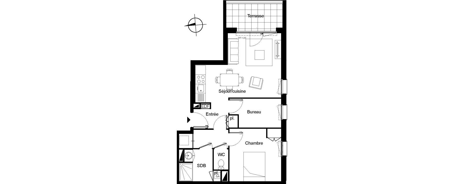 Appartement T2 bis de 50,41 m2 à Villenave-D'Ornon Le bocage