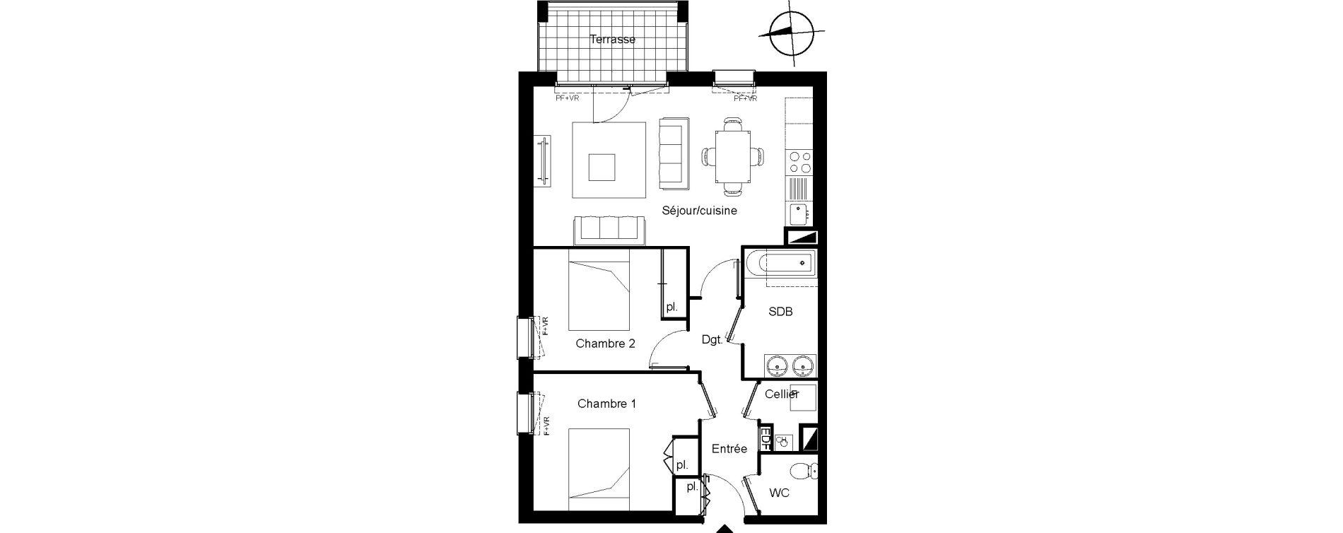 Appartement T3 de 63,05 m2 à Villenave-D'Ornon Le bocage