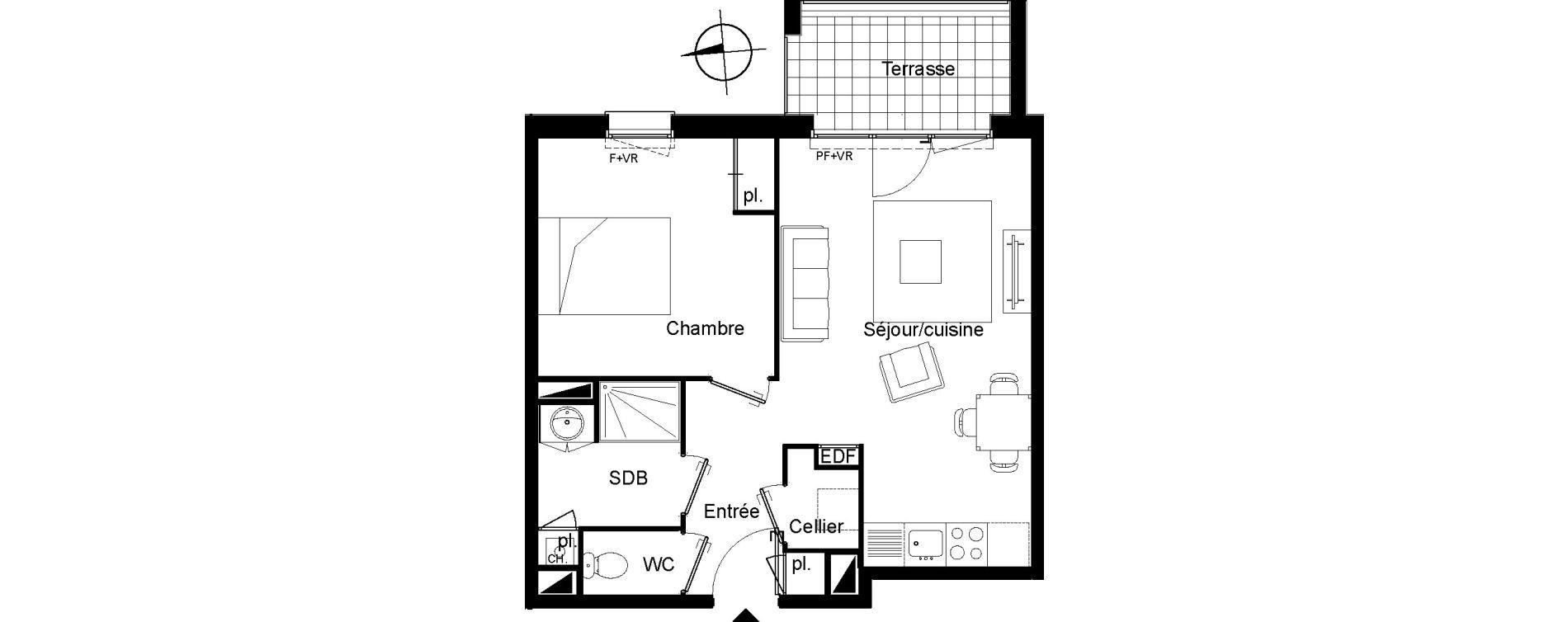 Appartement T2 de 44,32 m2 à Villenave-D'Ornon Le bocage