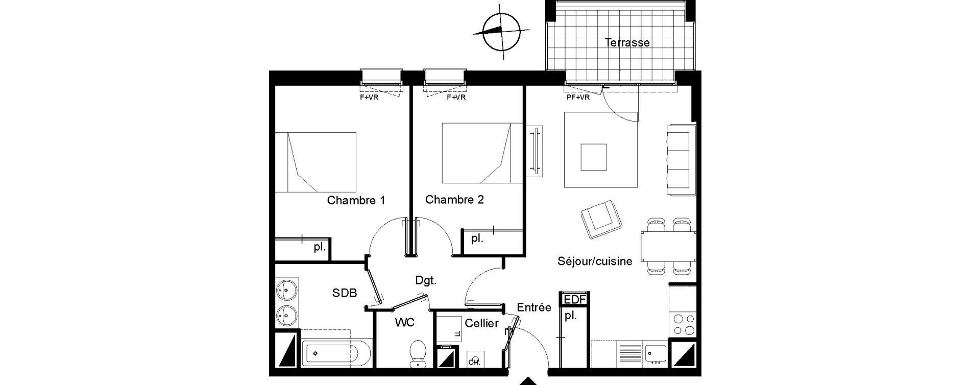 Appartement T3 de 62,29 m2 à Villenave-D'Ornon Le bocage