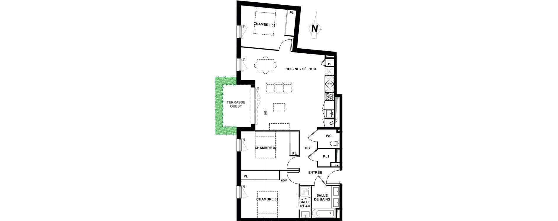 Appartement T4 de 84,75 m2 à Villenave-D'Ornon Le bocage