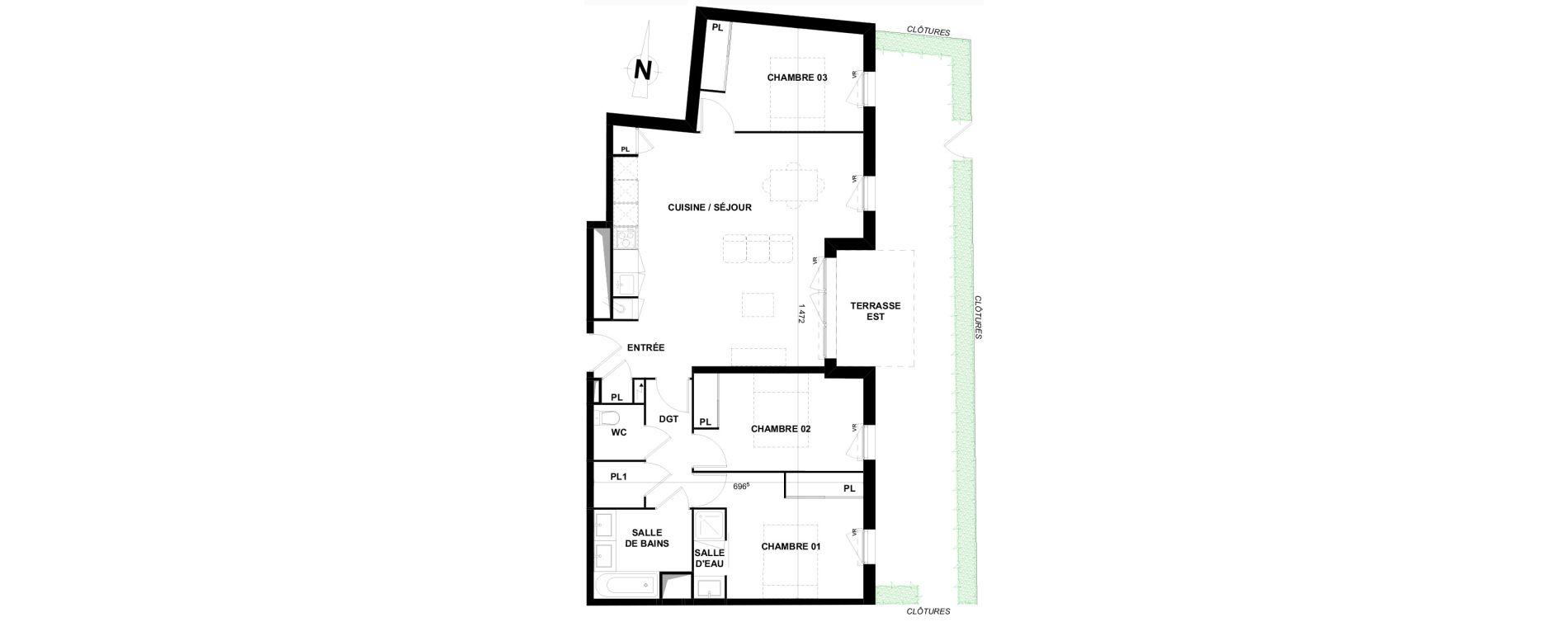 Appartement T4 de 86,25 m2 à Villenave-D'Ornon Le bocage