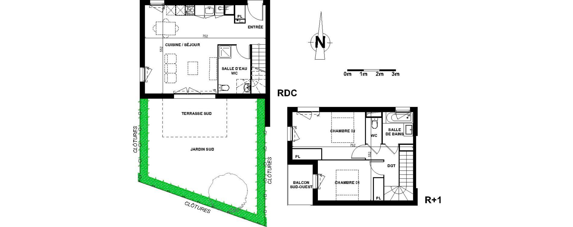 Maison T3 de 70,10 m2 à Villenave-D'Ornon Le bocage