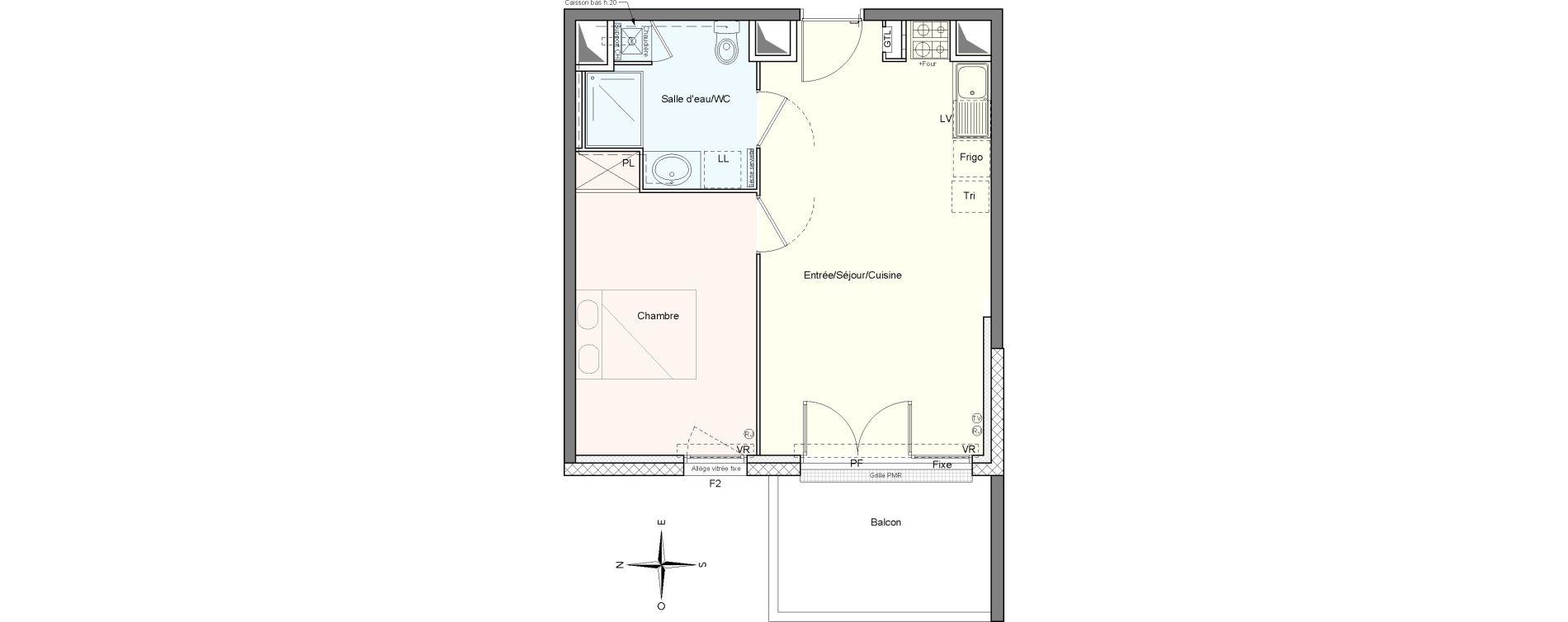 Appartement T2 de 42,17 m2 à Villenave-D'Ornon Le bocage