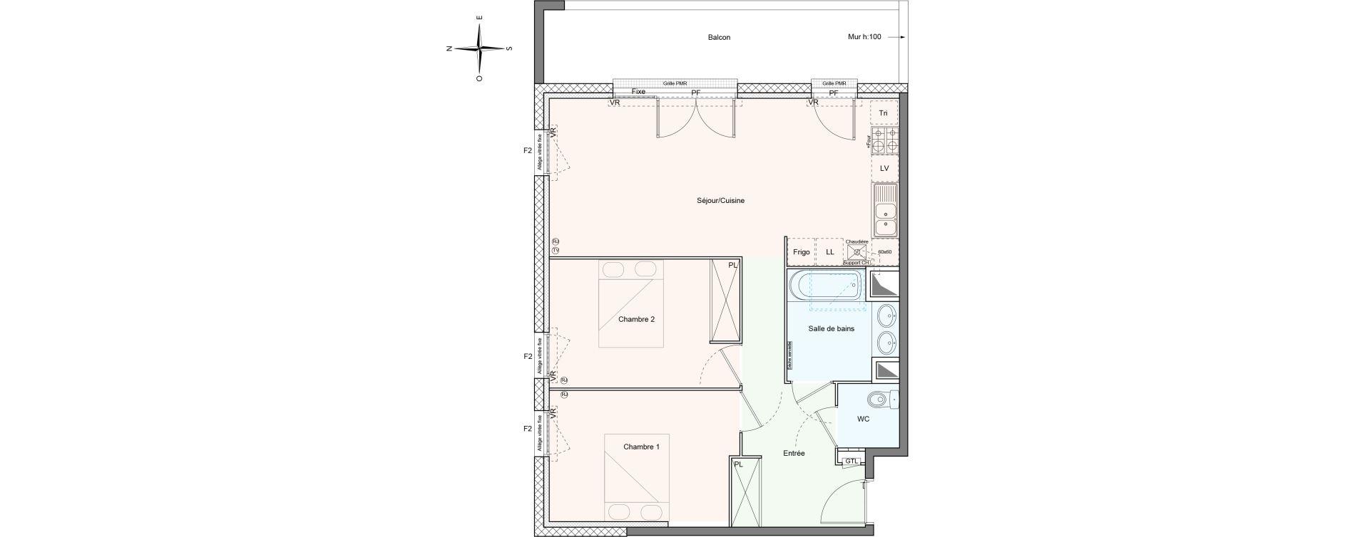 Appartement T3 de 66,60 m2 à Villenave-D'Ornon Le bocage