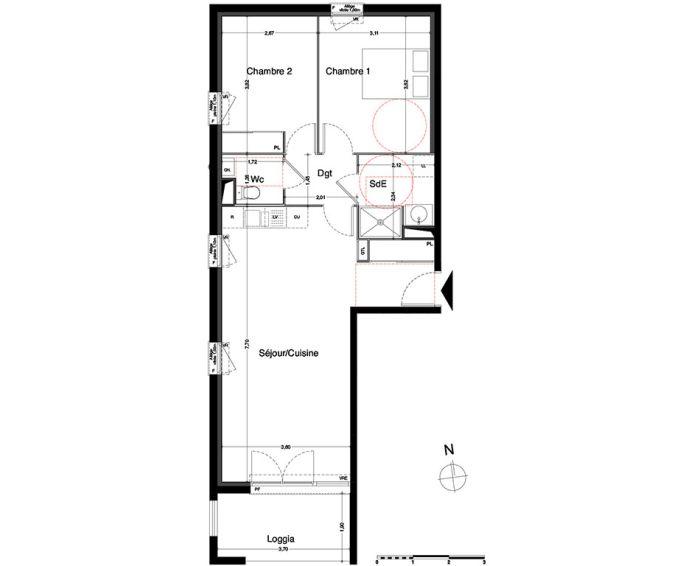 appartement t3 villenave d 39 ornon n 429 sud. Black Bedroom Furniture Sets. Home Design Ideas
