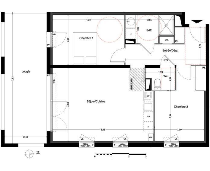 appartement t3 villenave d 39 ornon n 435 sud. Black Bedroom Furniture Sets. Home Design Ideas