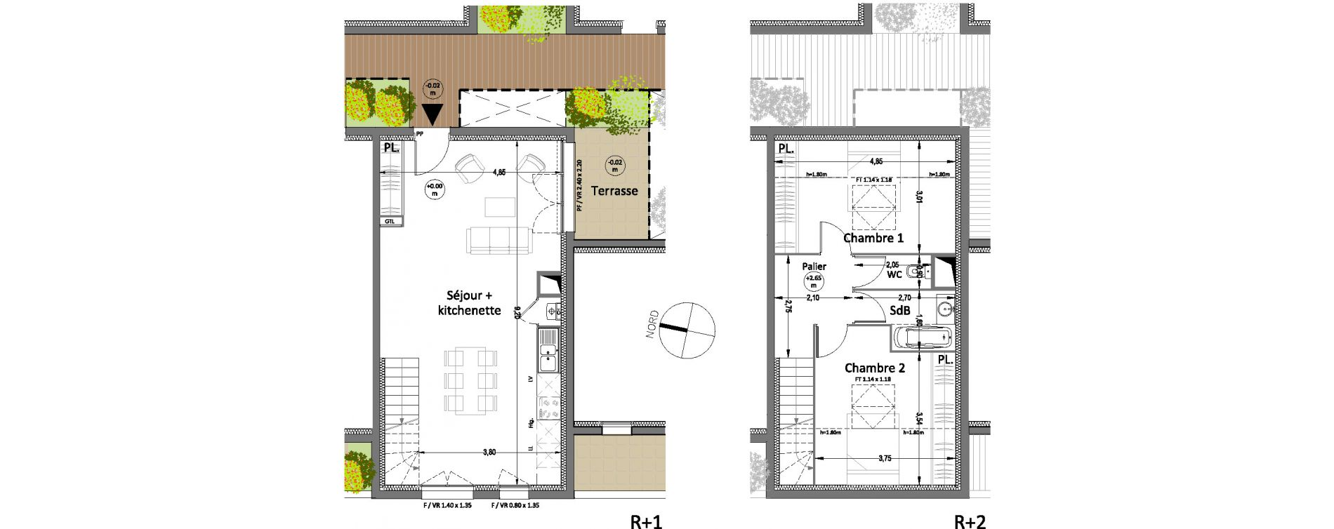 Duplex T3 de 70,15 m2 à Villenave-D'Ornon Centre