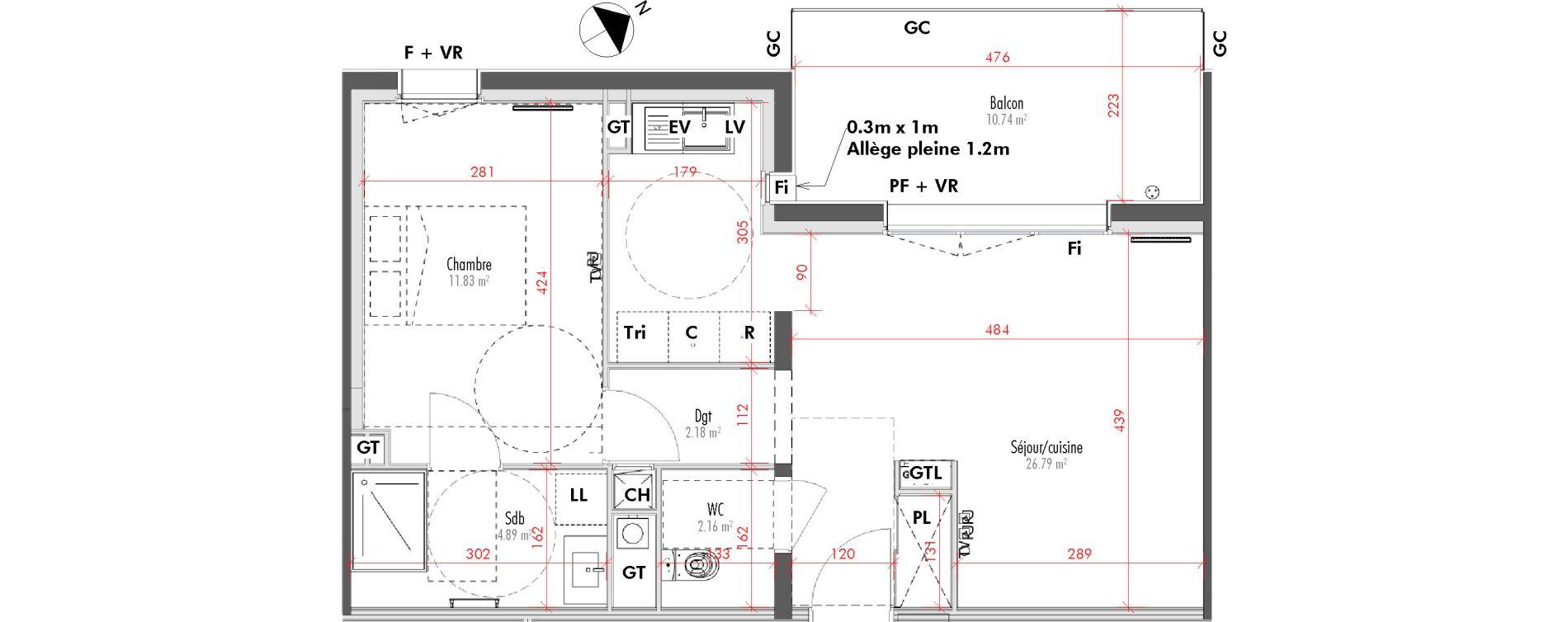 Appartement T2 de 47,85 m2 à Limoges Vanteaux