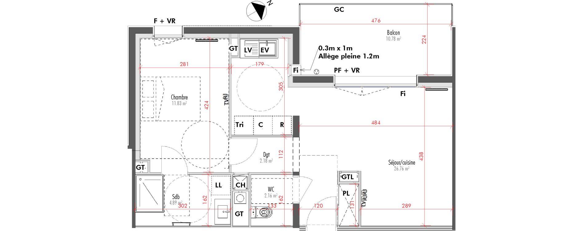 Appartement T2 de 47,82 m2 à Limoges Vanteaux