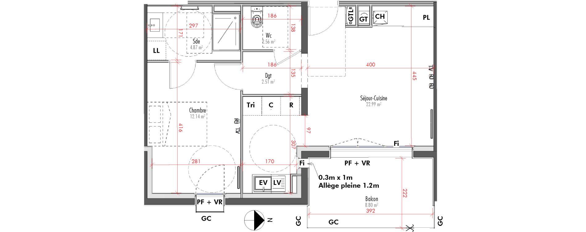 Appartement T2 de 45,07 m2 à Limoges Vanteaux