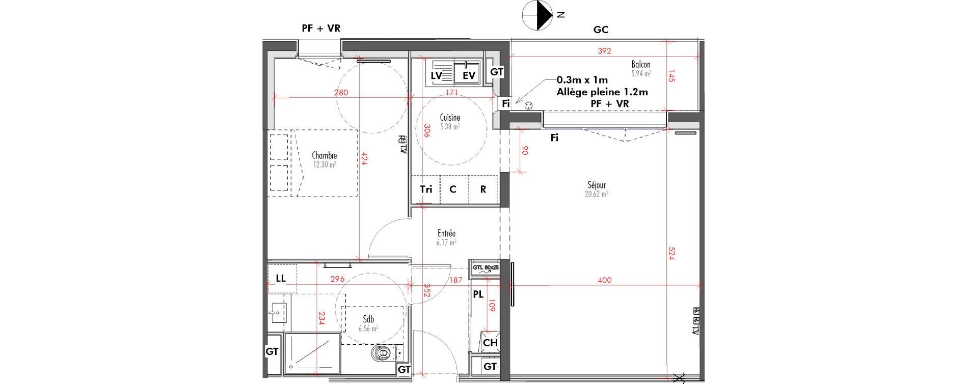 Appartement T2 de 51,03 m2 à Limoges Vanteaux