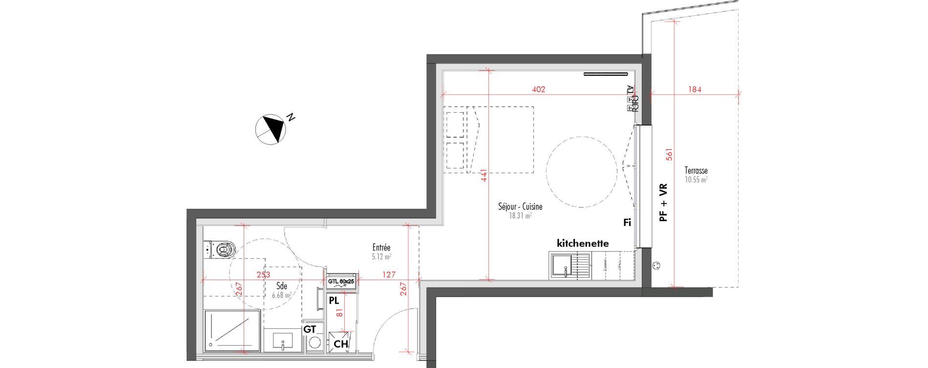 Appartement T1 de 30,11 m2 à Limoges Vanteaux