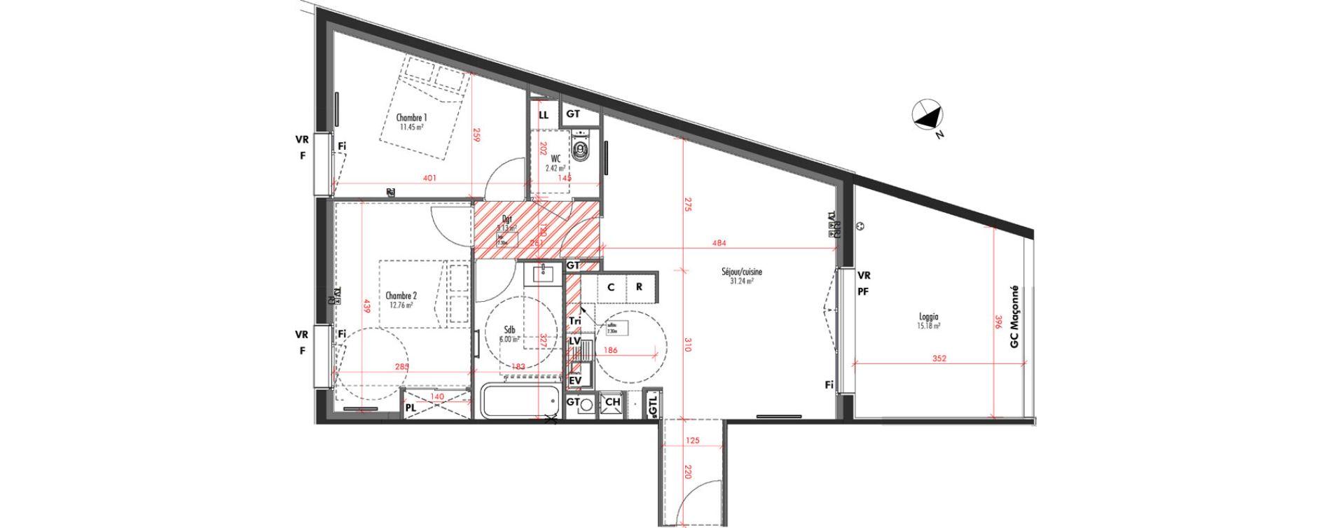 Appartement T3 de 67,00 m2 à Limoges Vanteaux