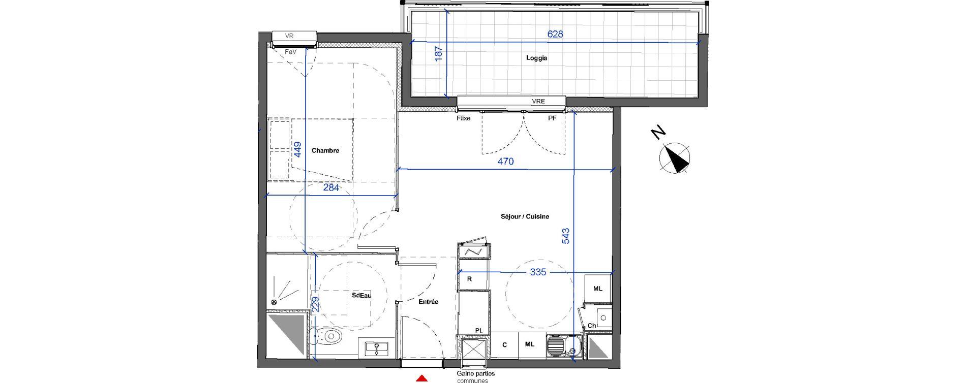 Appartement T2 de 42,45 m2 à Mont-De-Marsan Centre