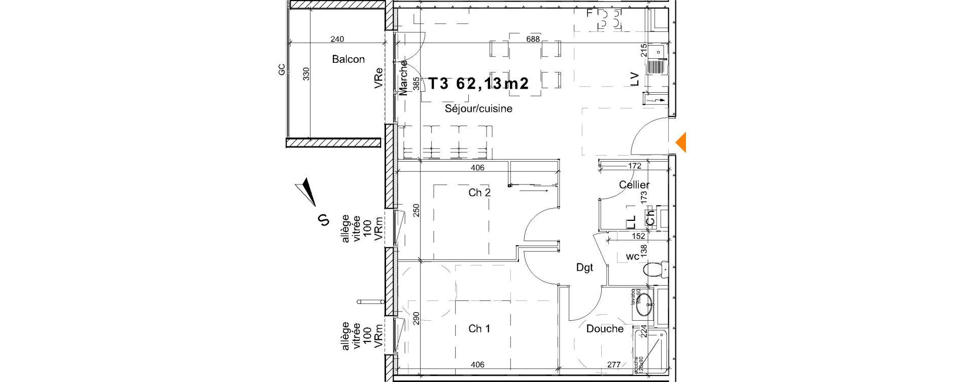 Appartement T3 de 62,13 m2 à Saint-Paul-Lès-Dax Centre