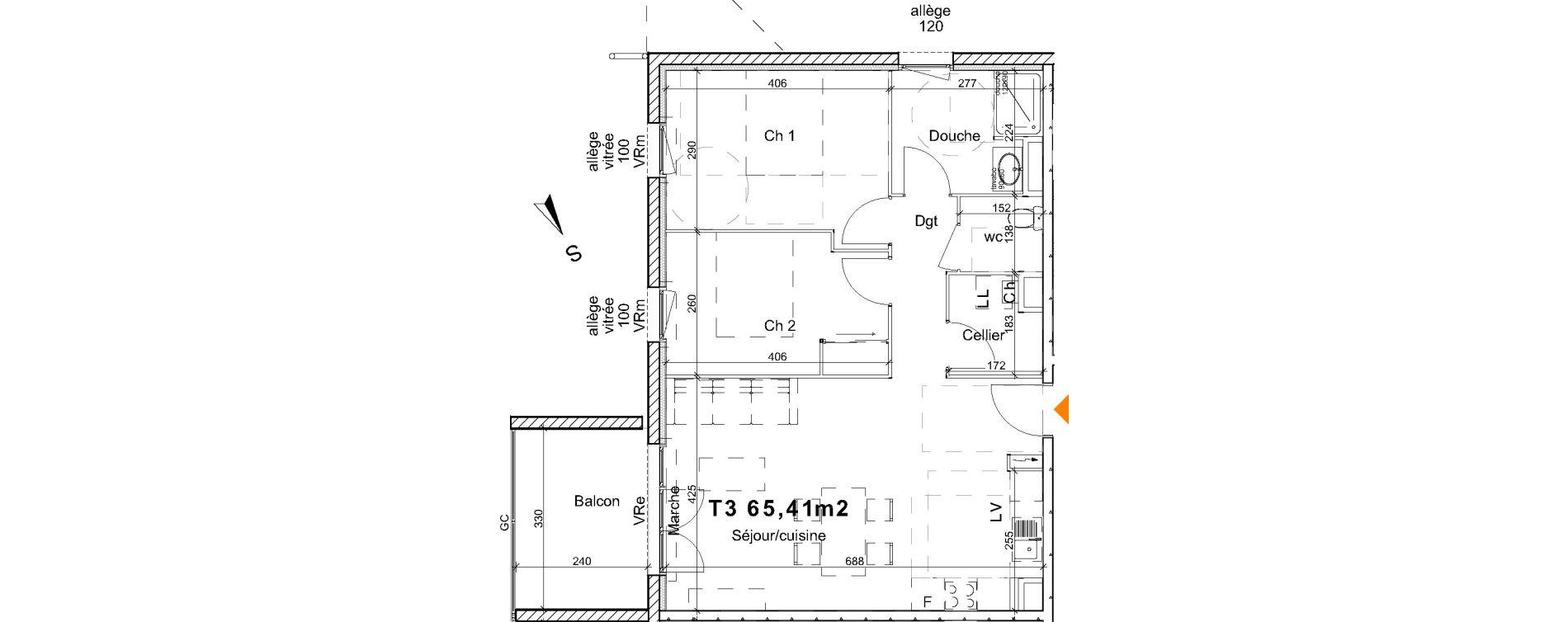 Appartement T3 de 65,41 m2 à Saint-Paul-Lès-Dax Centre