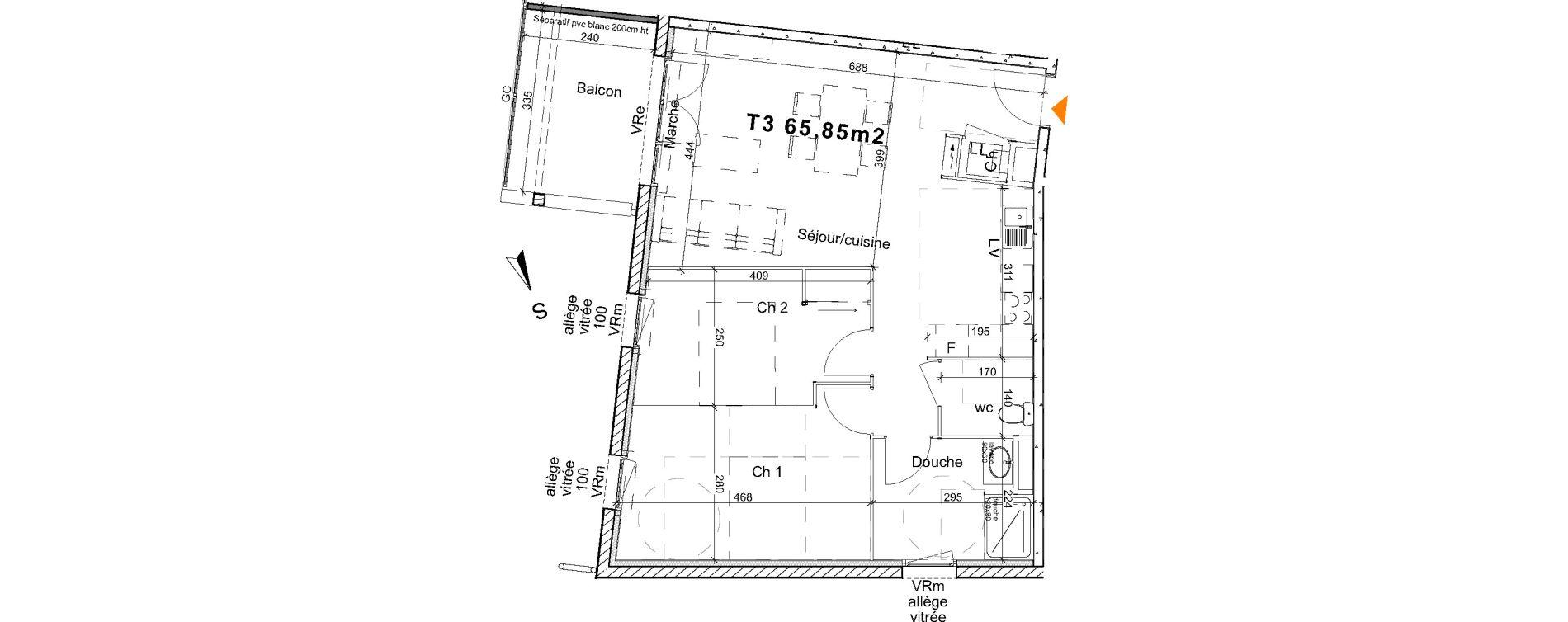 Appartement T3 de 65,85 m2 à Saint-Paul-Lès-Dax Centre