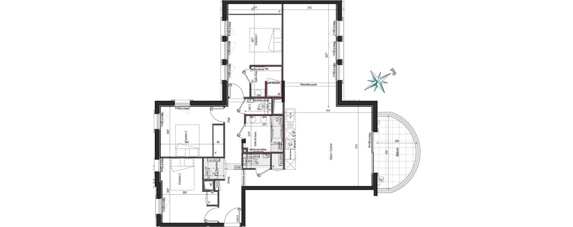 Appartement T4 de 101,61 m2 à Bayonne Arènes - lachepaillet