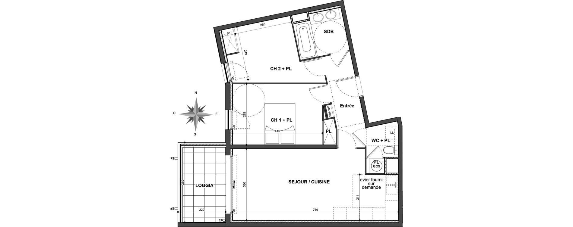 Appartement T3 de 59,63 m2 à Nîmes Jean jaurès