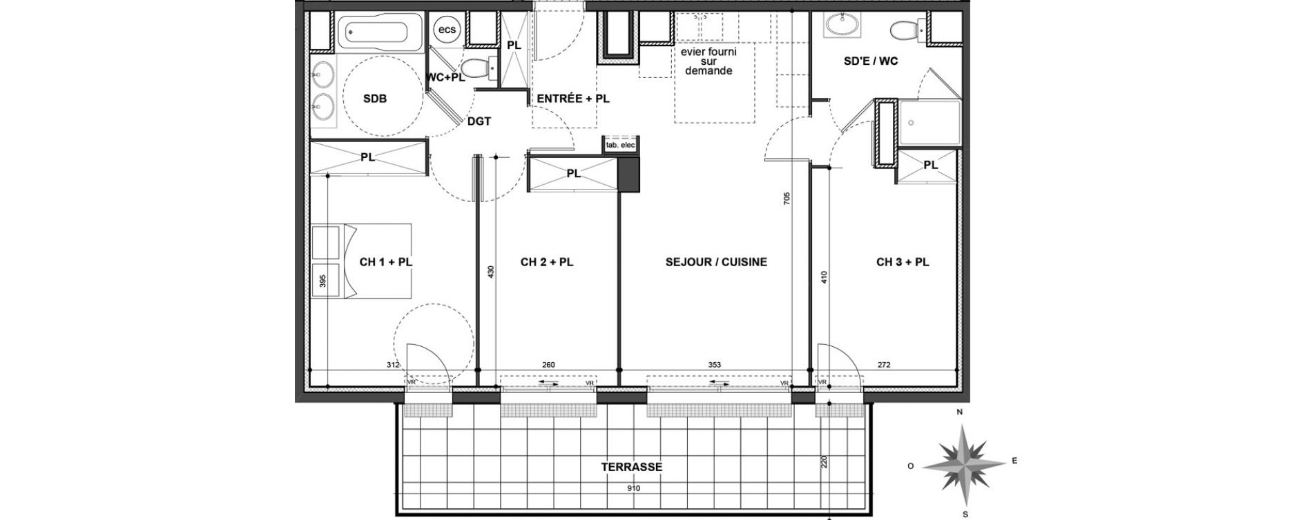 Appartement T4 de 81,38 m2 à Nîmes Jean jaurès