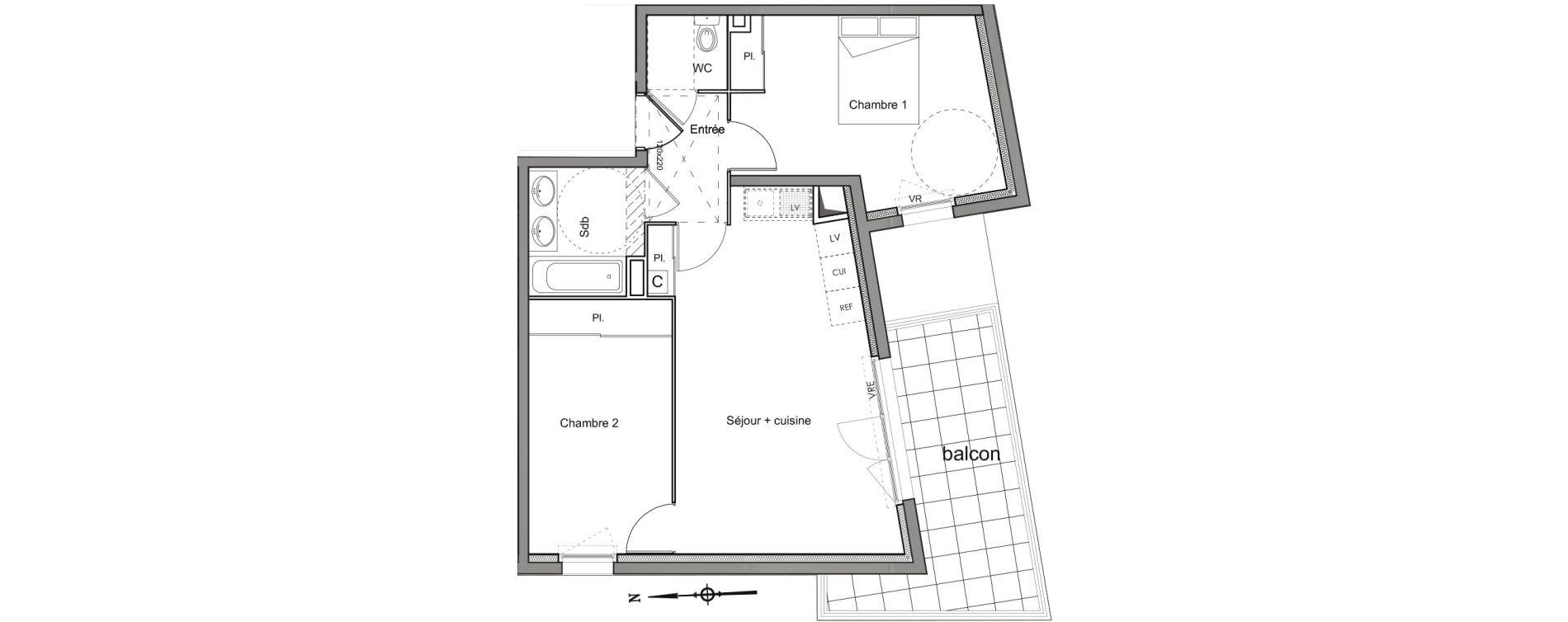 Appartement T3 de 55,70 m2 à Nîmes Les marronniers