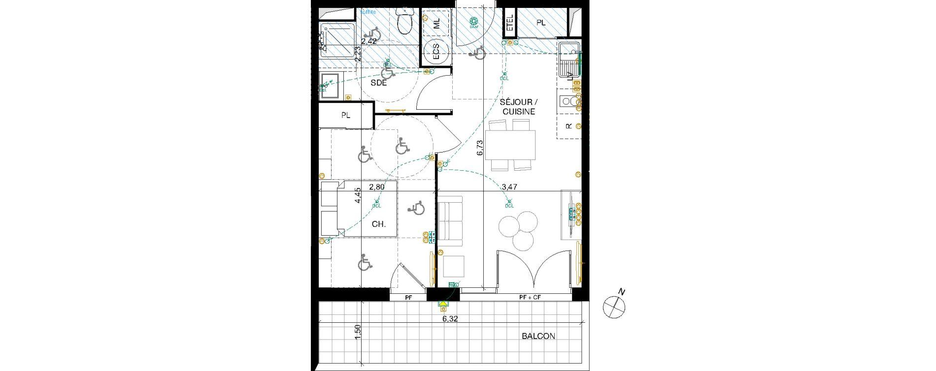 Appartement T2 de 41,43 m2 à Nîmes Pissevin