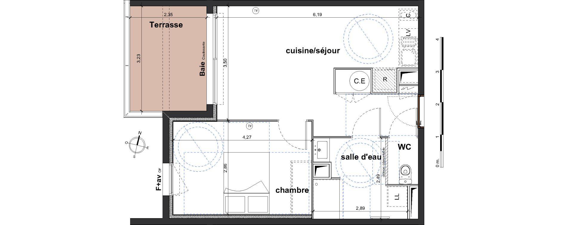 Appartement T2 de 42,05 m2 à Vergèze Centre