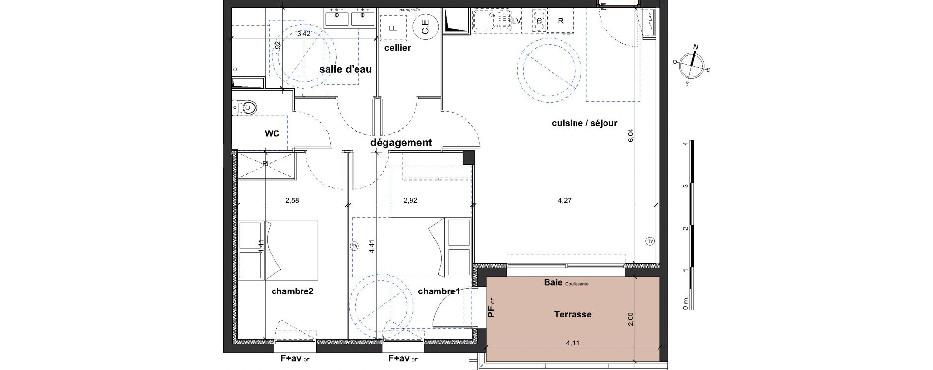 Appartement T3 de 68,00 m2 à Vergèze Centre