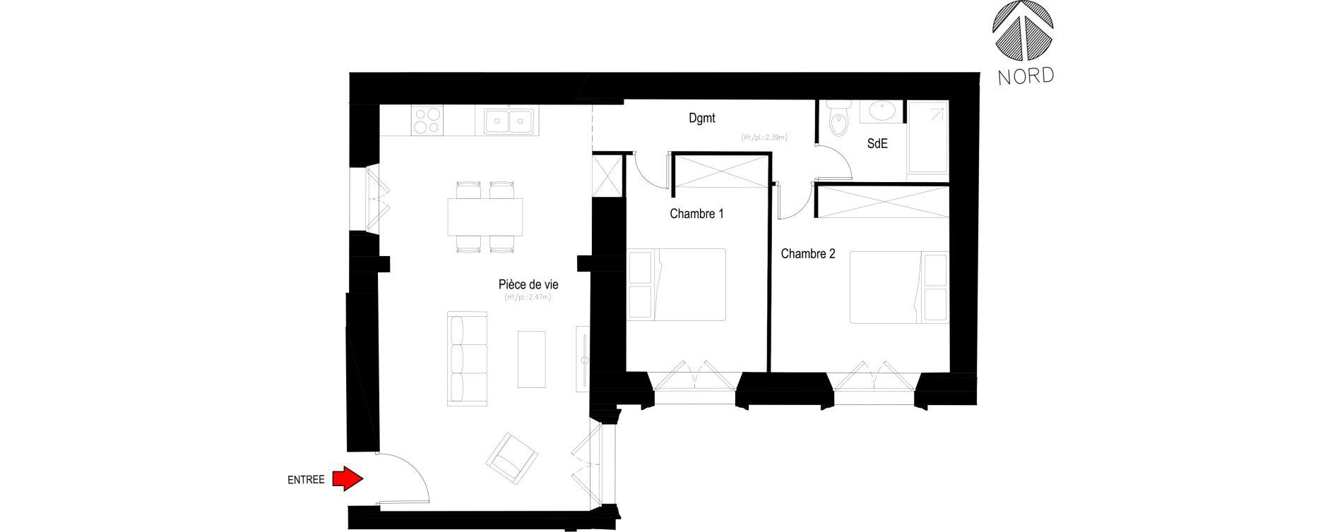Appartement T3 de 62,00 m2 à Villeneuve-Lès-Avignon Centre