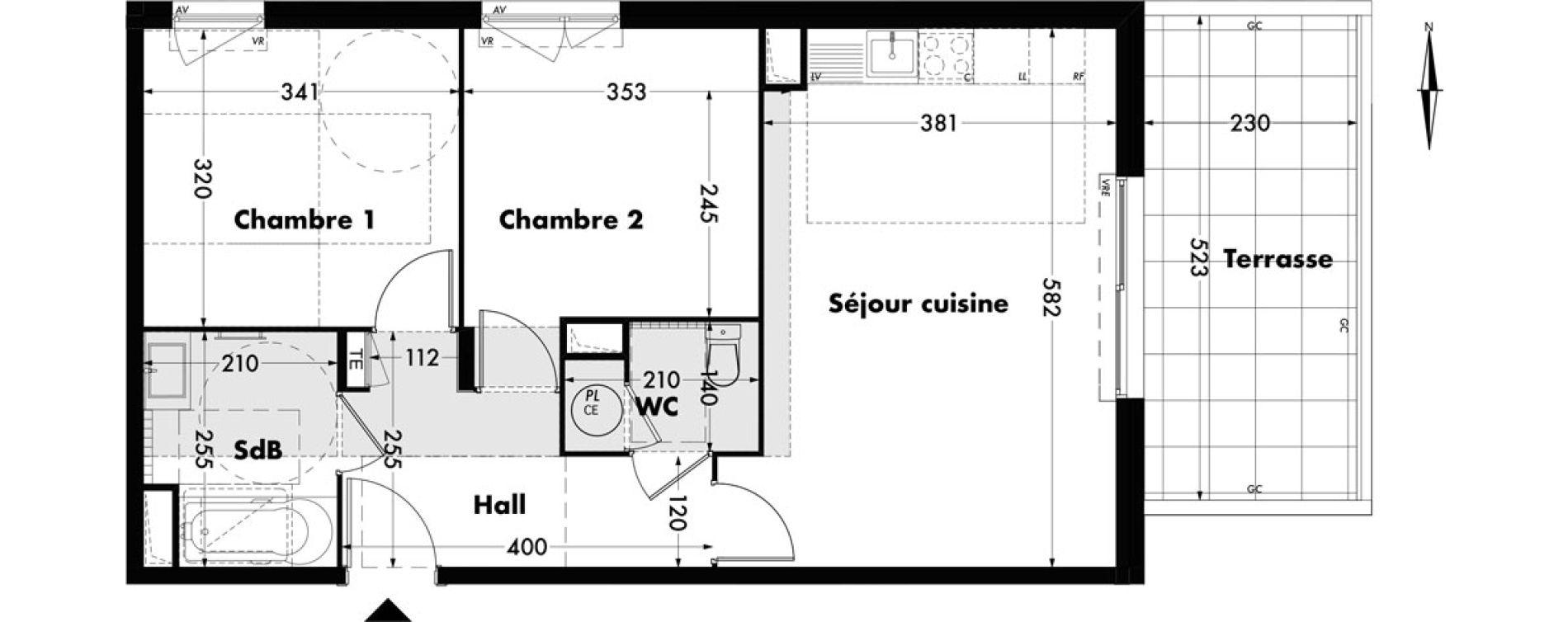 Appartement T3 de 58,55 m2 à Villeneuve-Lès-Avignon Centre