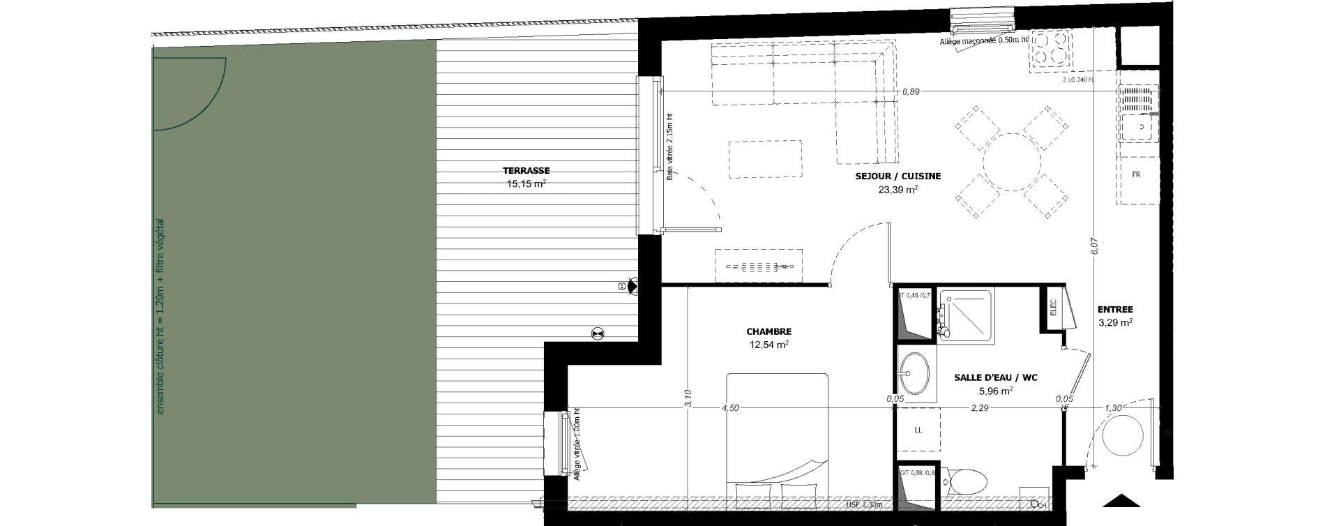 Appartement T2 de 45,18 m2 à Beauzelle Zac andromede