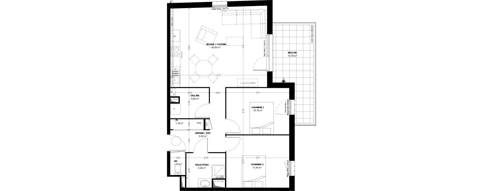 Appartement T3 de 65,63 m2 à Beauzelle Zac andromede