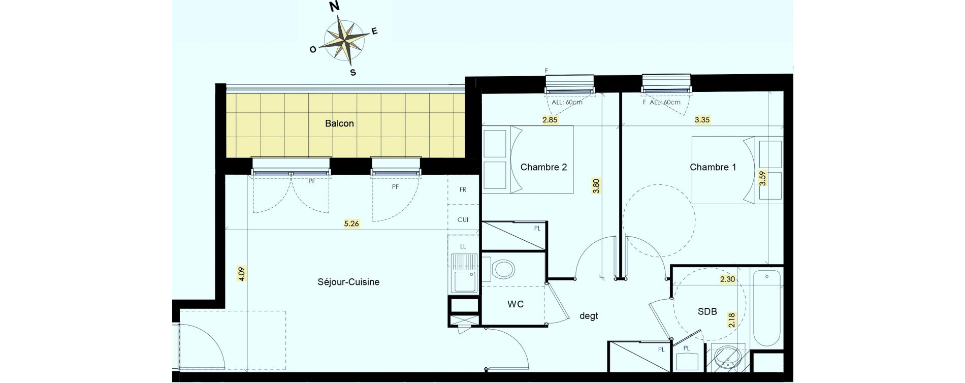 Appartement T3 de 57,62 m2 à Beauzelle Zac andromede