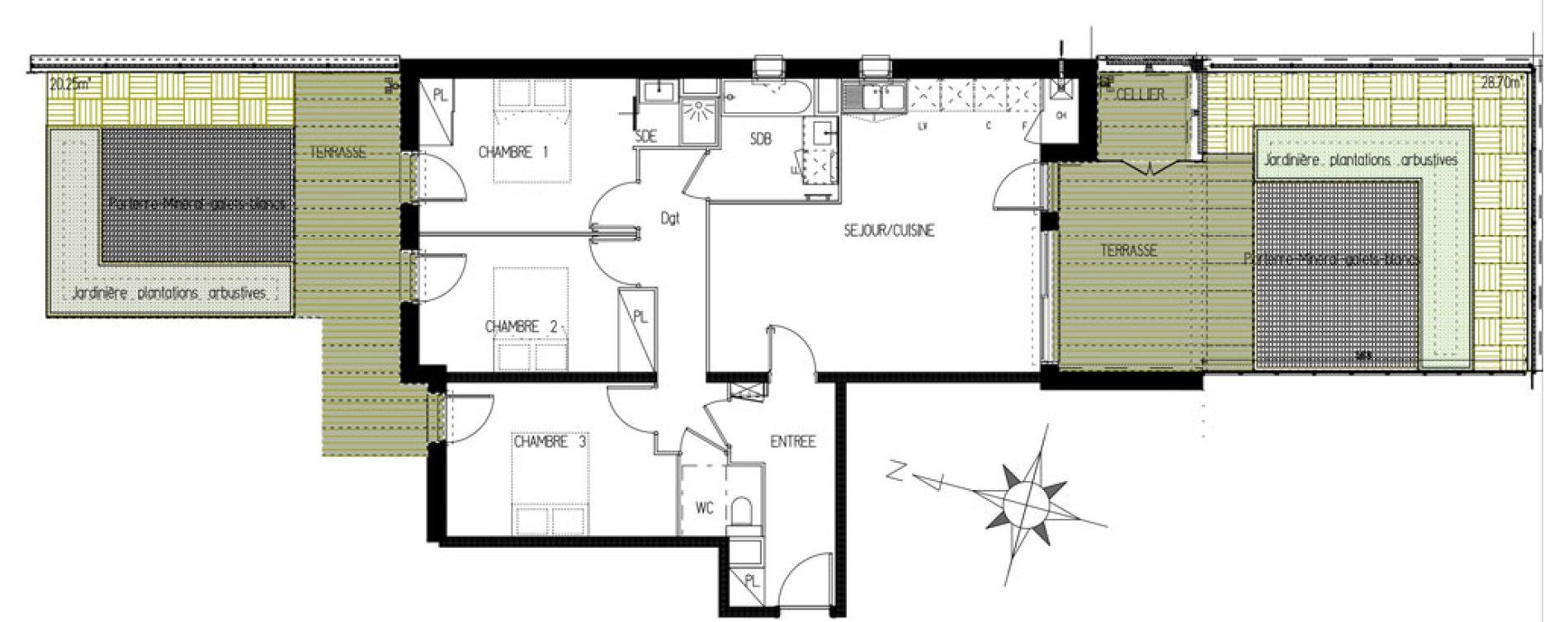 Appartement T4 de 82,00 m2 à Castanet-Tolosan Castanet tolosan centre
