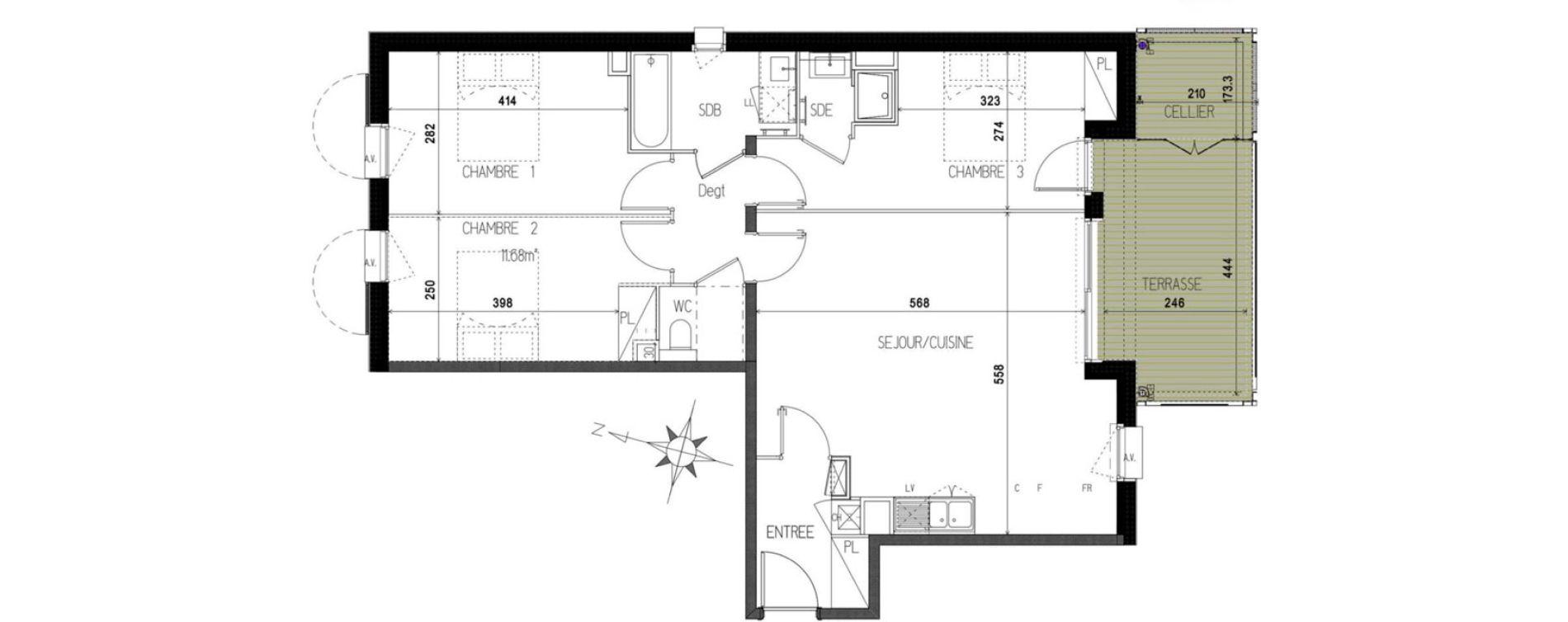 Appartement T4 de 83,03 m2 à Castanet-Tolosan Castanet tolosan centre