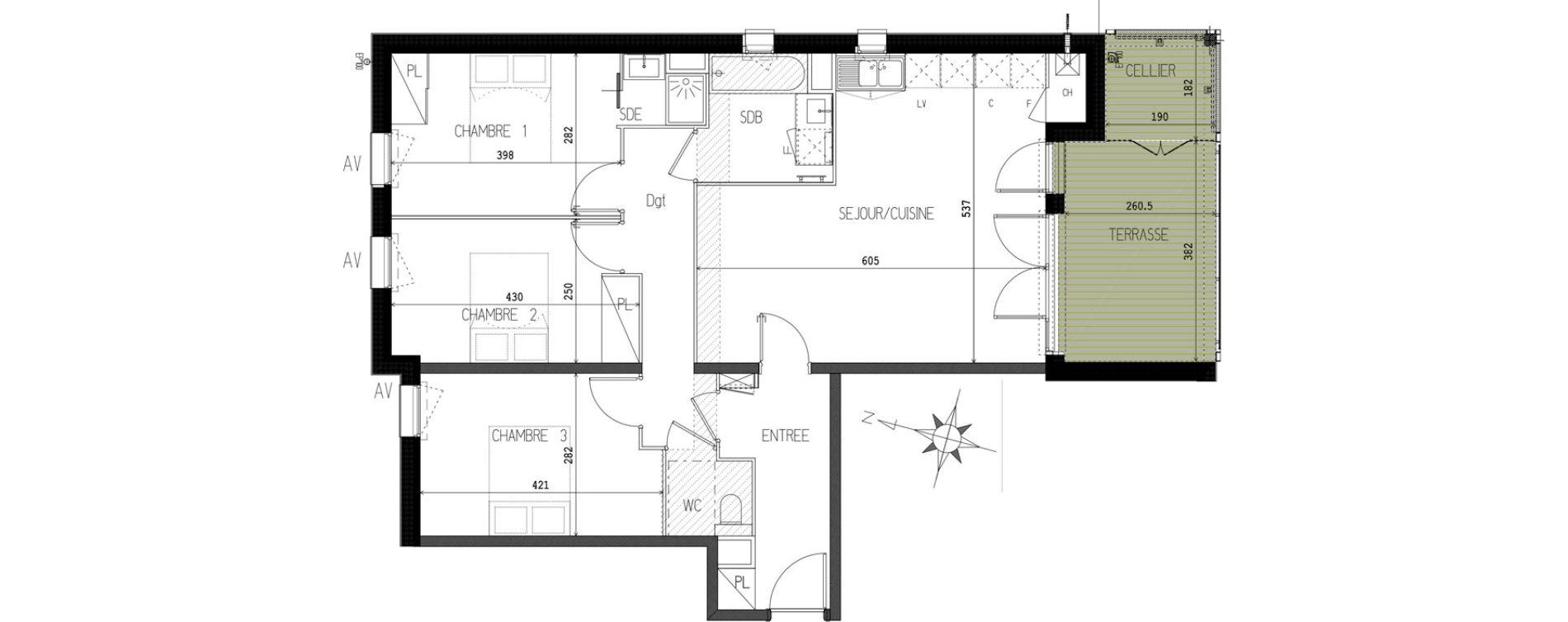Appartement T4 de 82,08 m2 à Castanet-Tolosan Castanet tolosan centre