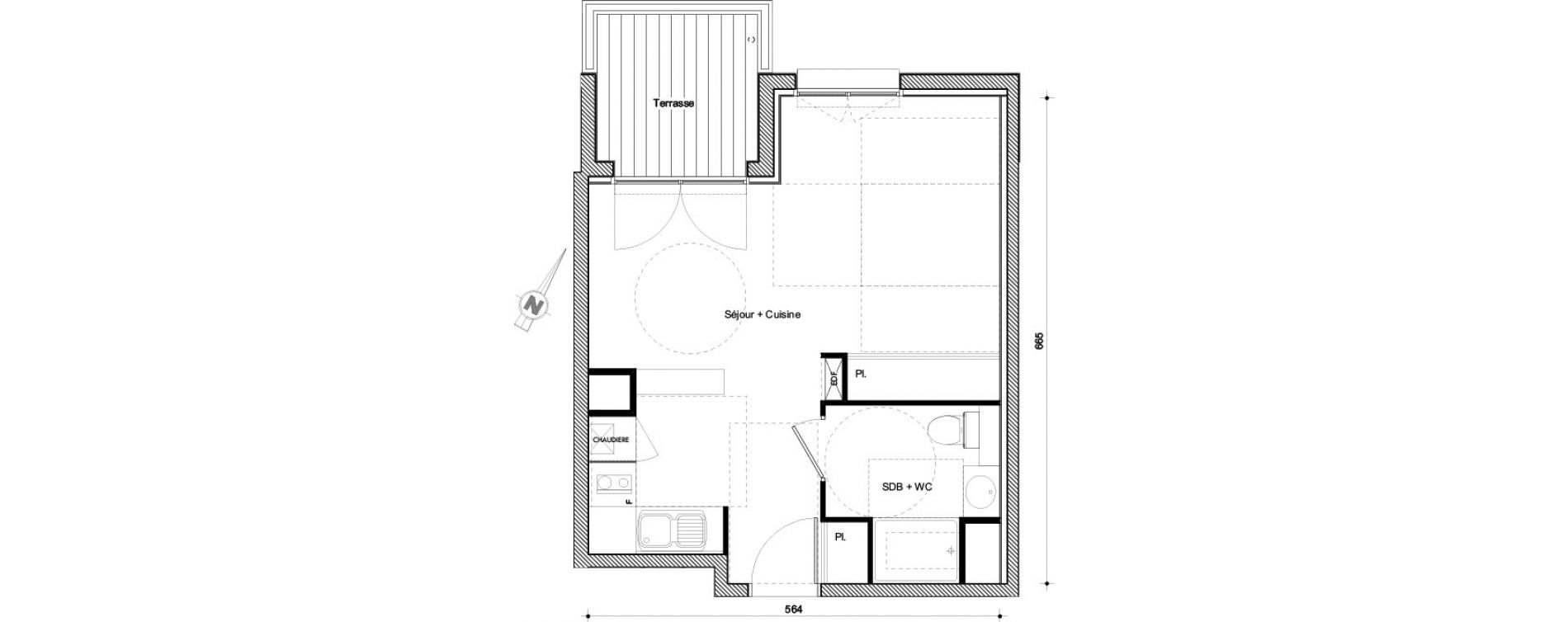 Appartement T1 bis de 32,29 m2 à Castanet-Tolosan Centre