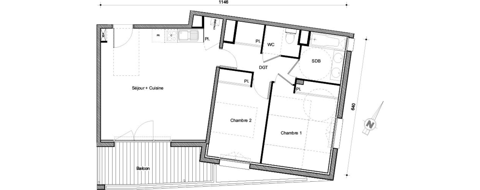 Appartement T3 de 62,54 m2 à Castanet-Tolosan Centre