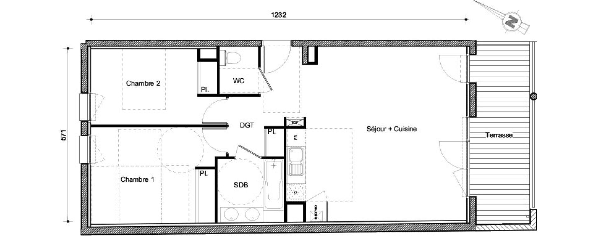 Appartement T3 de 67,18 m2 à Castanet-Tolosan Centre