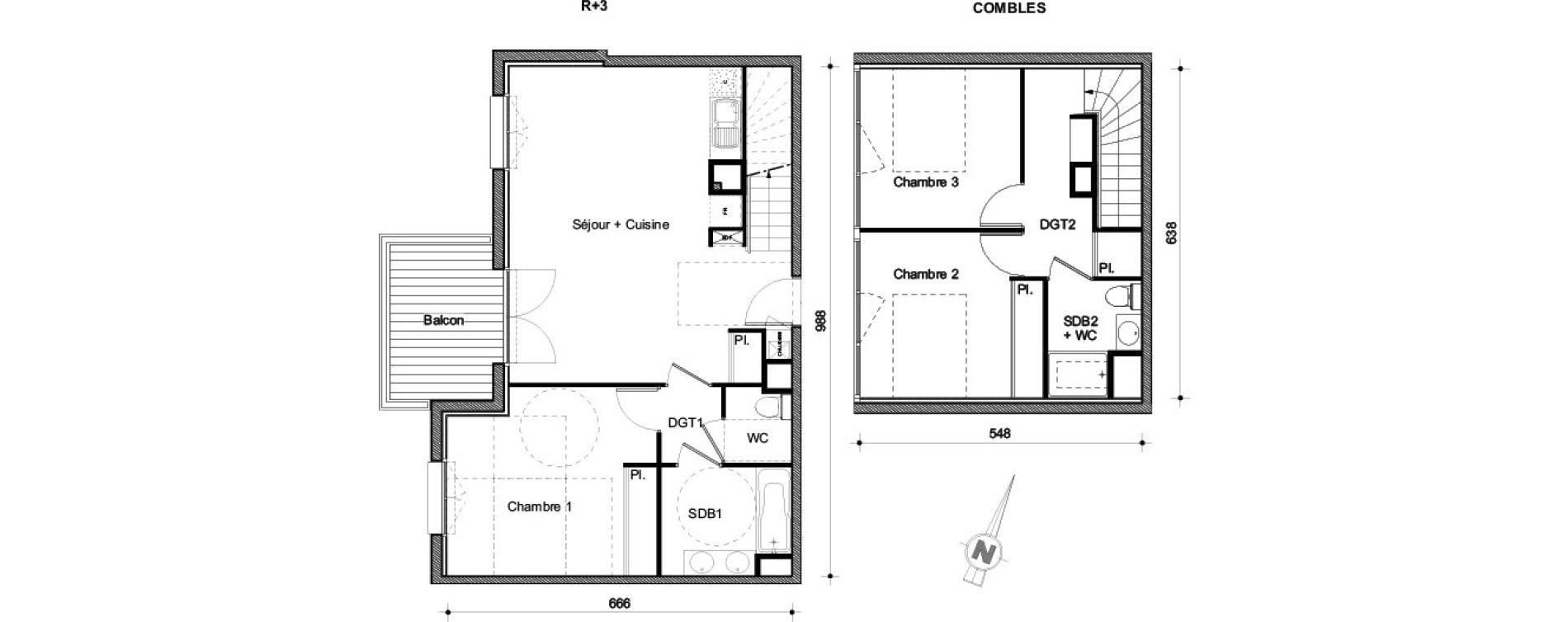 Duplex T4 de 82,74 m2 à Castanet-Tolosan Centre