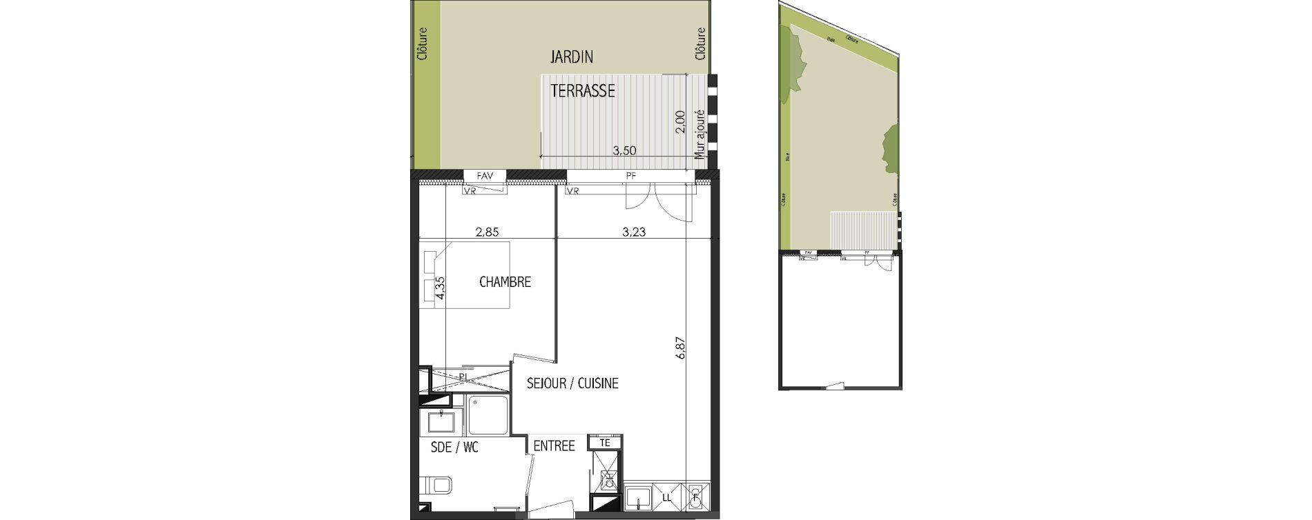 Appartement T2 de 40,85 m2 à Castanet-Tolosan Centre