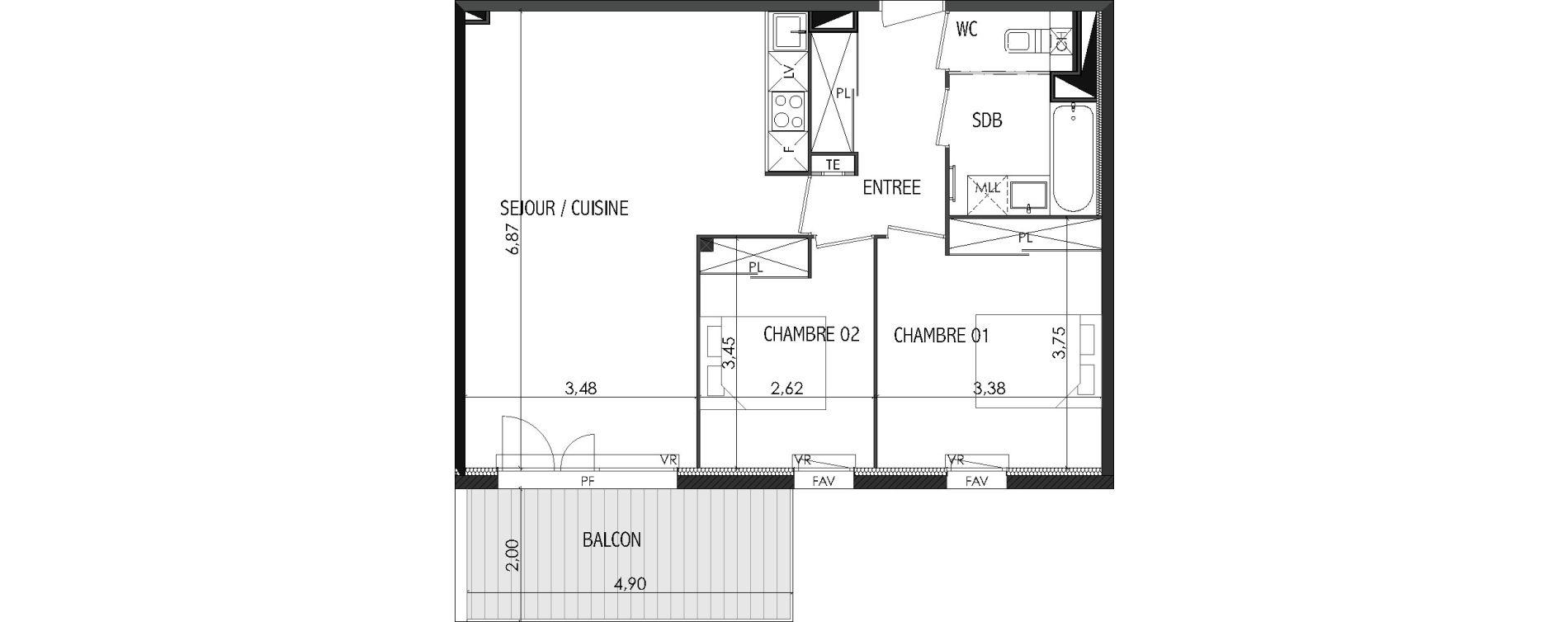 Appartement T3 de 63,54 m2 à Castanet-Tolosan Centre
