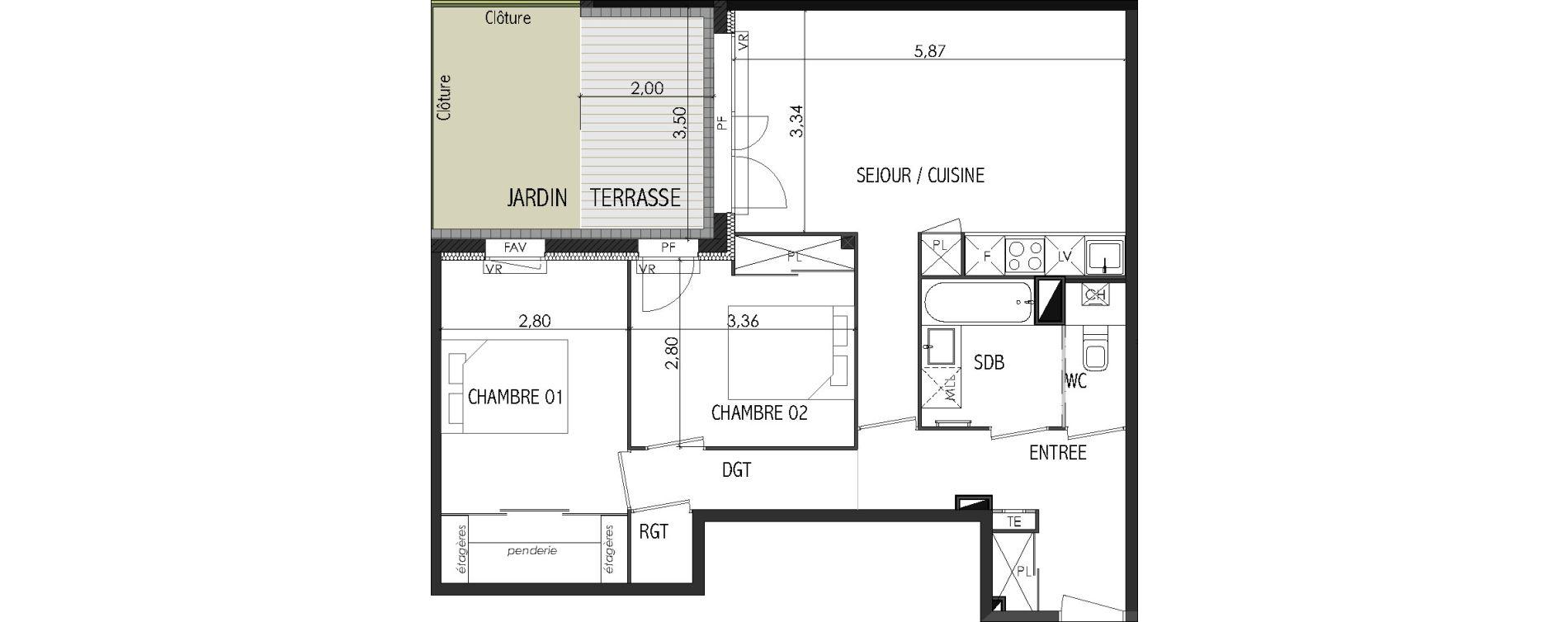 Appartement T3 de 65,84 m2 à Castanet-Tolosan Centre