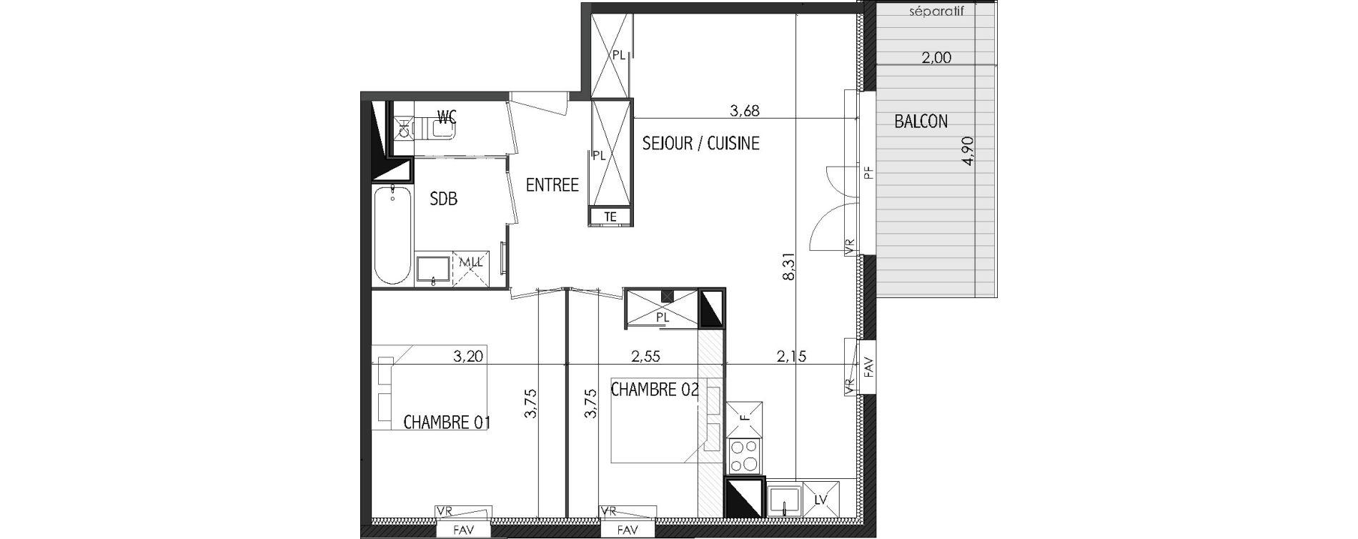 Appartement T3 de 58,83 m2 à Castanet-Tolosan Centre