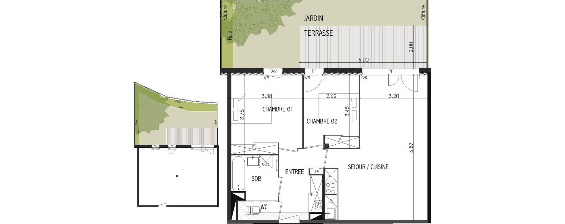 Appartement T3 de 61,88 m2 à Castanet-Tolosan Centre